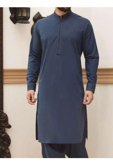 best blue men eid kurta shalwar kameez and waistcoat dress designs 2017 by Junaid Jamshed