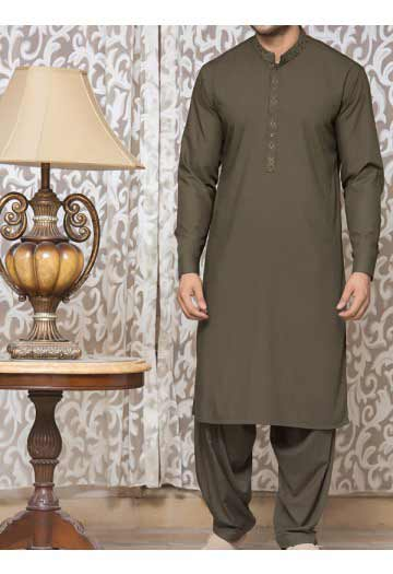 best green men eid kurta shalwar kameez and waistcoat dress designs 2017 by Junaid Jamshed