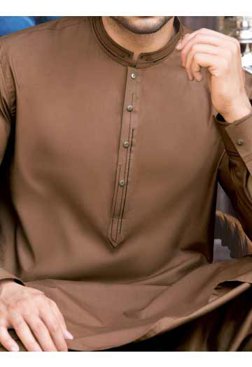 latest brown men eid kurta shalwar kameez and waistcoat dress designs 2017 by Junaid Jamshed