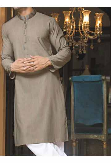 new gray men eid kurta shalwar kameez and waistcoat dress designs 2017 by Junaid Jamshed