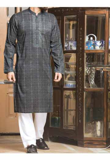 dark grey men eid kurta shalwar kameez and waistcoat dress designs 2017 by Junaid Jamshed