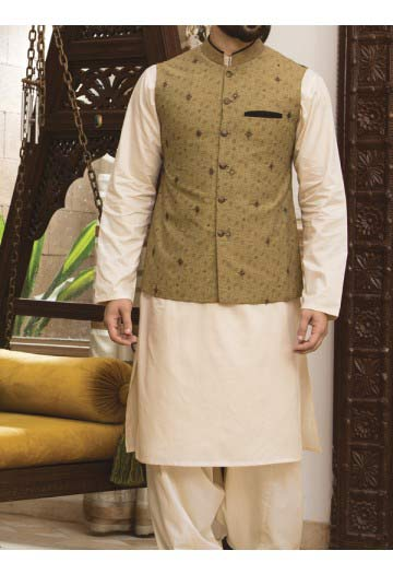 men golden beige waist coat with off white kameez men eid kurta shalwar kameez and waistcoat dress designs 2017 by Junaid Jamshed