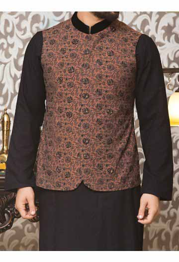 black embroidered waistcoat with black kurta men eid kurta shalwar kameez and waistcoat dress designs 2017 by Junaid Jamshed