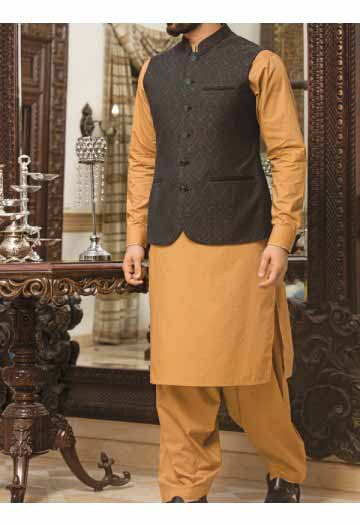 new black waist coat with orange kurta shalwar men eid kurta shalwar kameez and waistcoat dress designs 2017 by Junaid Jamshed