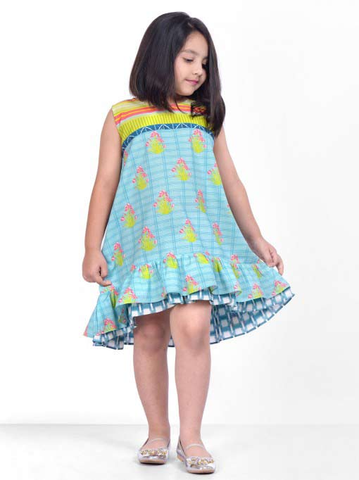 Sleeveless knee length frock for little girls in Pakistan latest kids eid dresses for little girls in Pakistan 2017