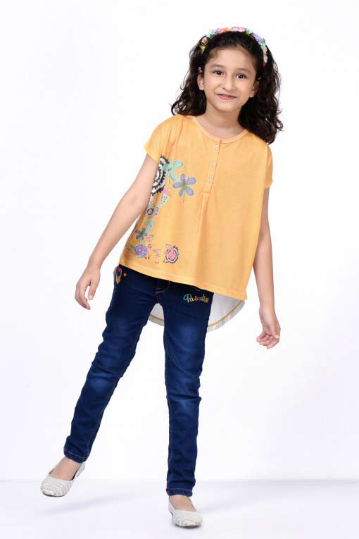 Orange short shirt with blue jeans eid dress for baby girls latest kids eid dresses for little girls in Pakistan 2017