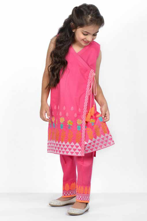Shocking pink and orange angrakha style front open frock or shirt with matching pants latest kids eid dresses for little girls in Pakistan 2017