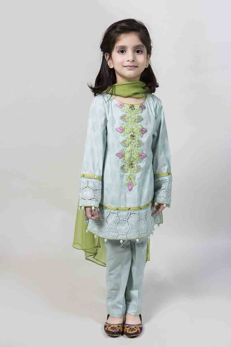 Sky blue kurti with cigarette pants and green dupatta latest kids eid dresses for little girls in Pakistan 2017