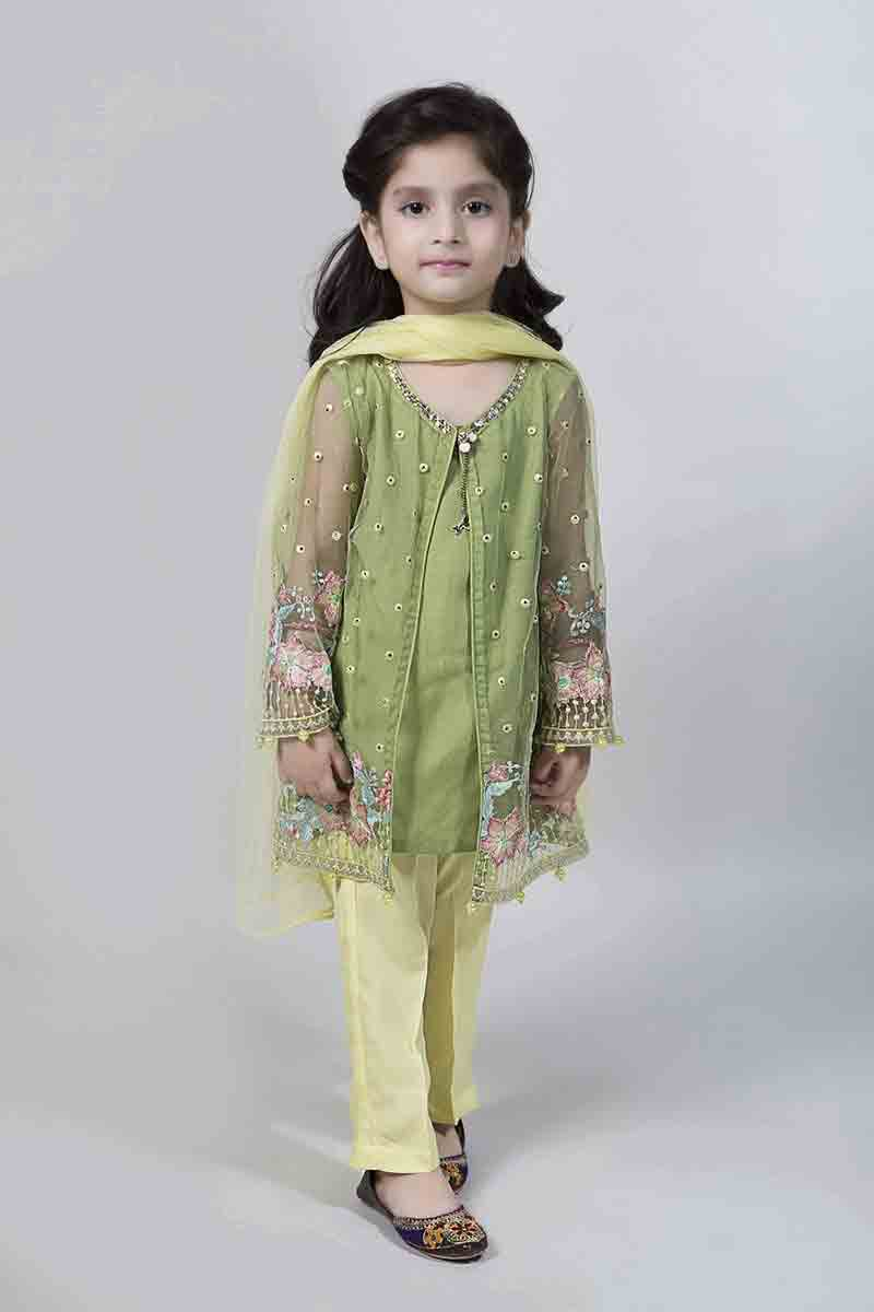 Front open green double shirt having a great detail work with straight yellow pants and dupatta latest kids eid dresses for little girls in Pakistan 2017