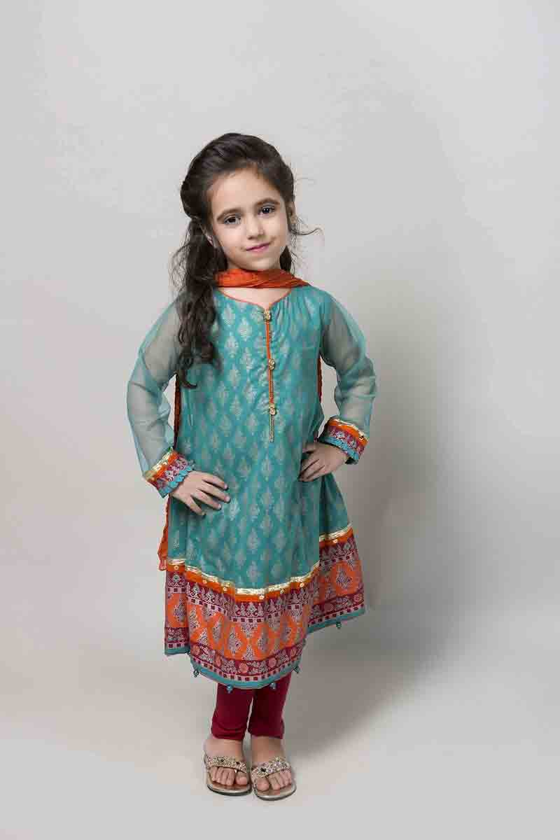 Blue long frock with orange pants and dupatta latest kids eid dresses for little girls in Pakistan 2017