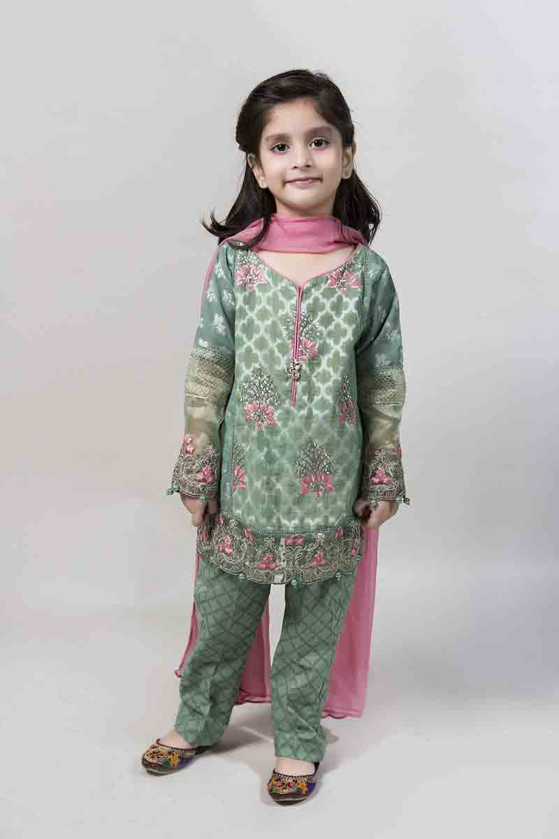 Green embellished kurti with trousers and pink dupatta latest kids eid dresses for little girls in Pakistan 2017