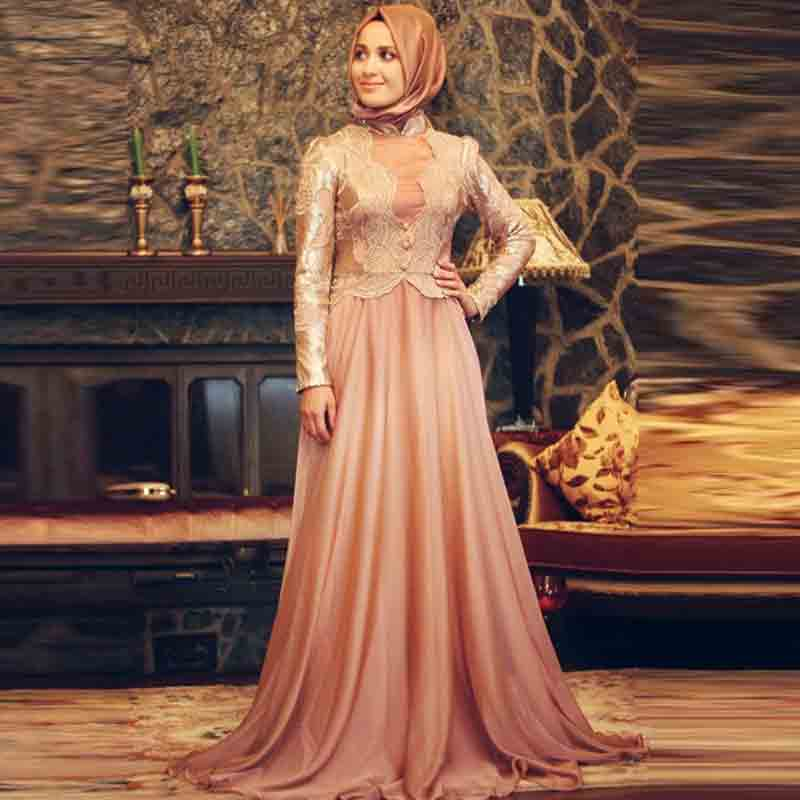 new peach hijab with long maxi frock new eid party hijab style 2017