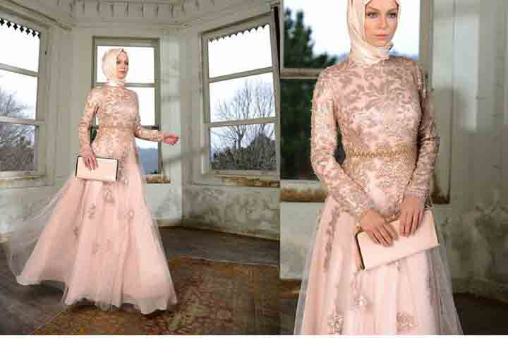 new peach hijab with long frock new eid party hijab style 2017