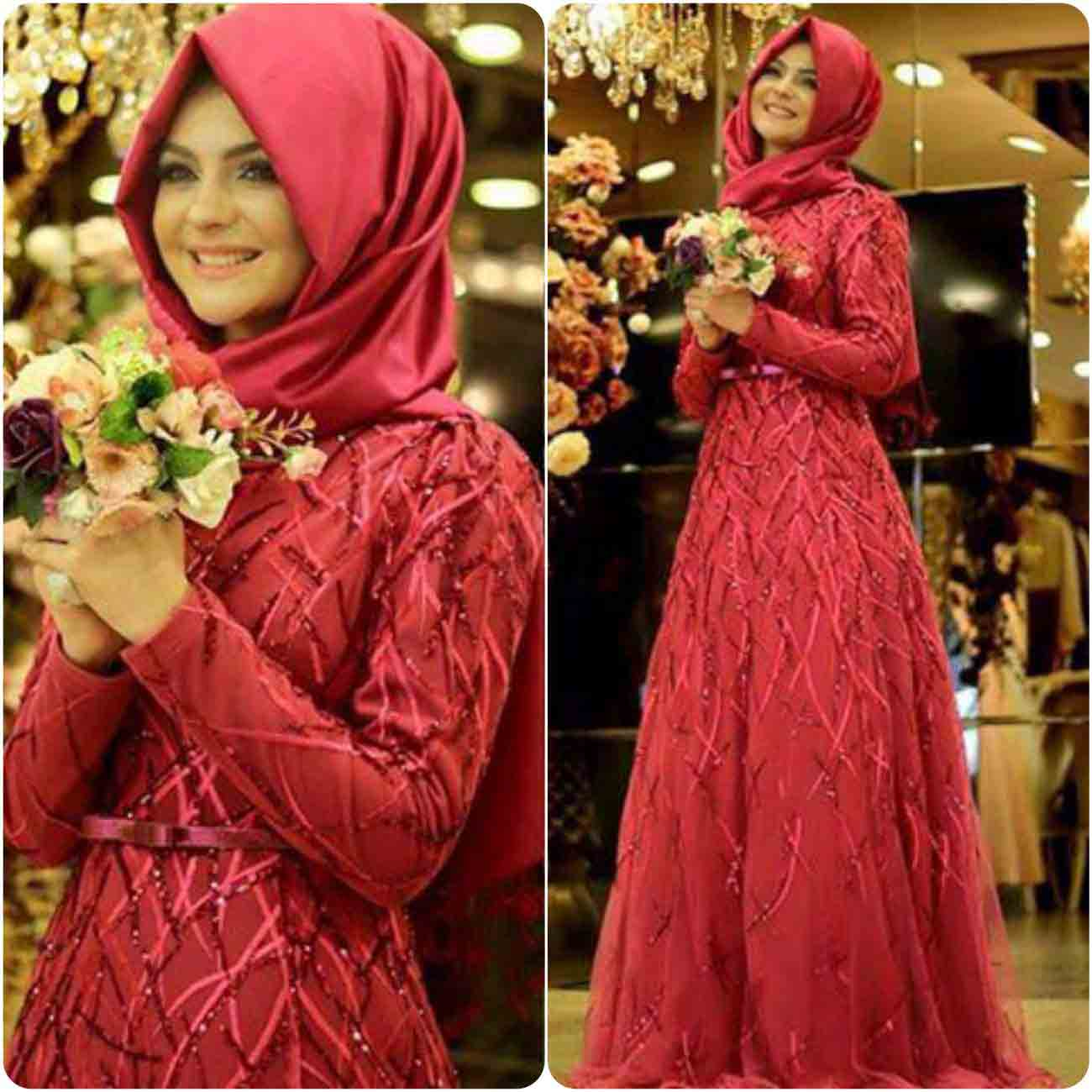 latest red maxi with hijab new eid party hijab style 2017