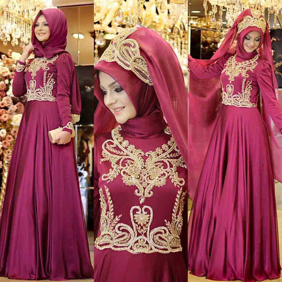 new maroon party hijab style with long maxi gown new eid party hijab style 2017