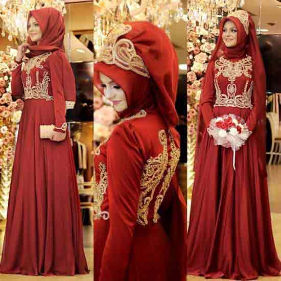 classy red and golden hijab with long maxi frock new eid party hijab style 2017