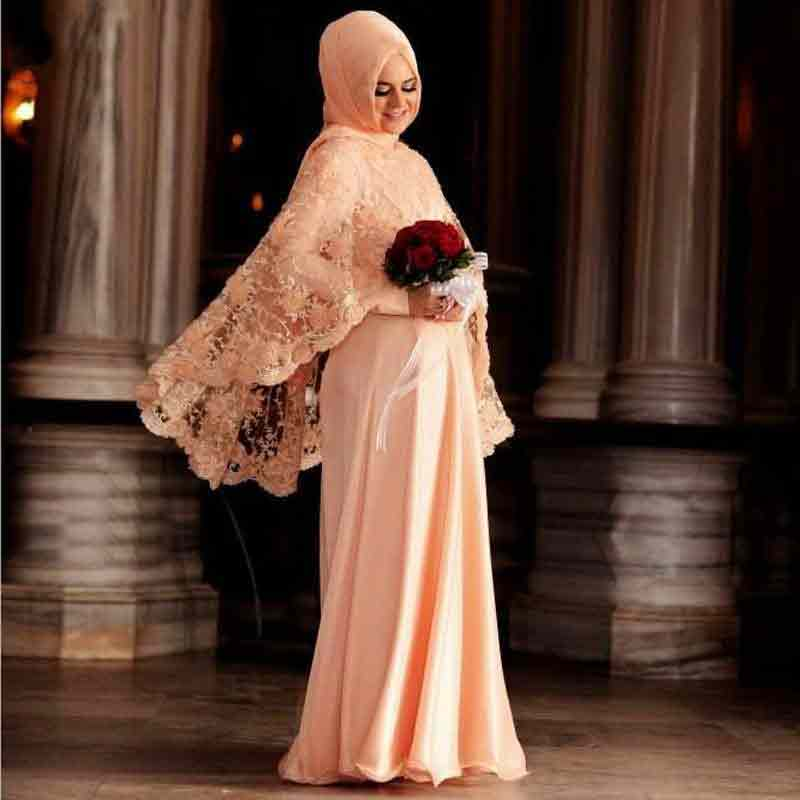 Light pink peach new eid party hijab style 2017 with long maxi gown