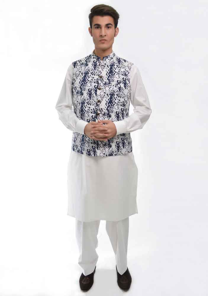 white shalwar kameez with blue and white waistcoat latest amir adnan men kurta designs for ramadan 2017