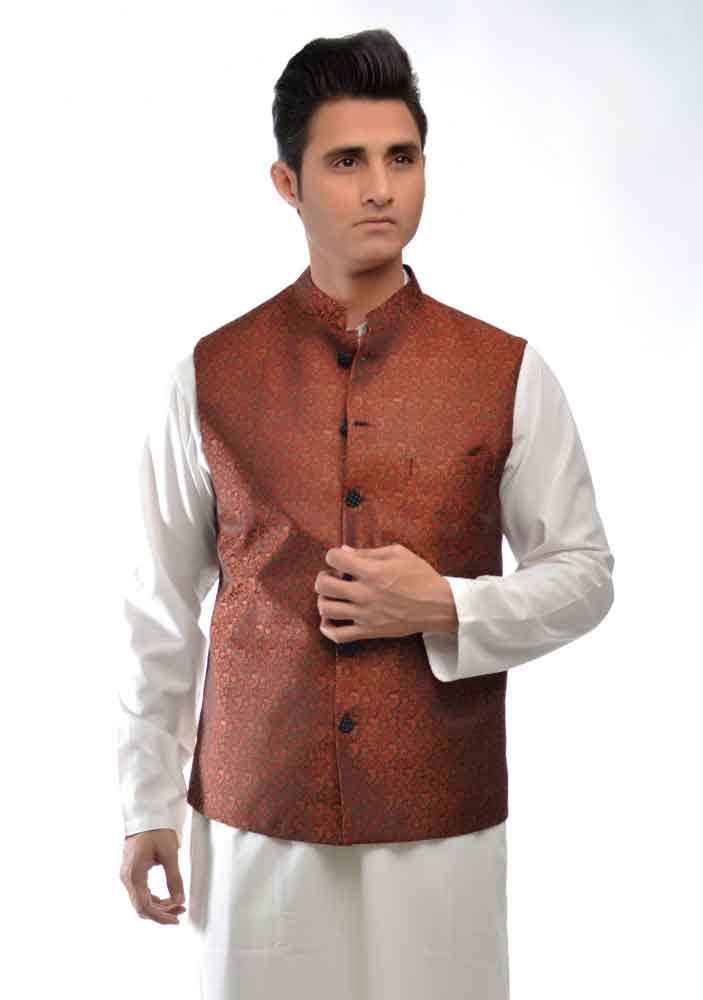 white kurta with brown waistcoat latest amir adnan men kurta designs for ramadan 2017