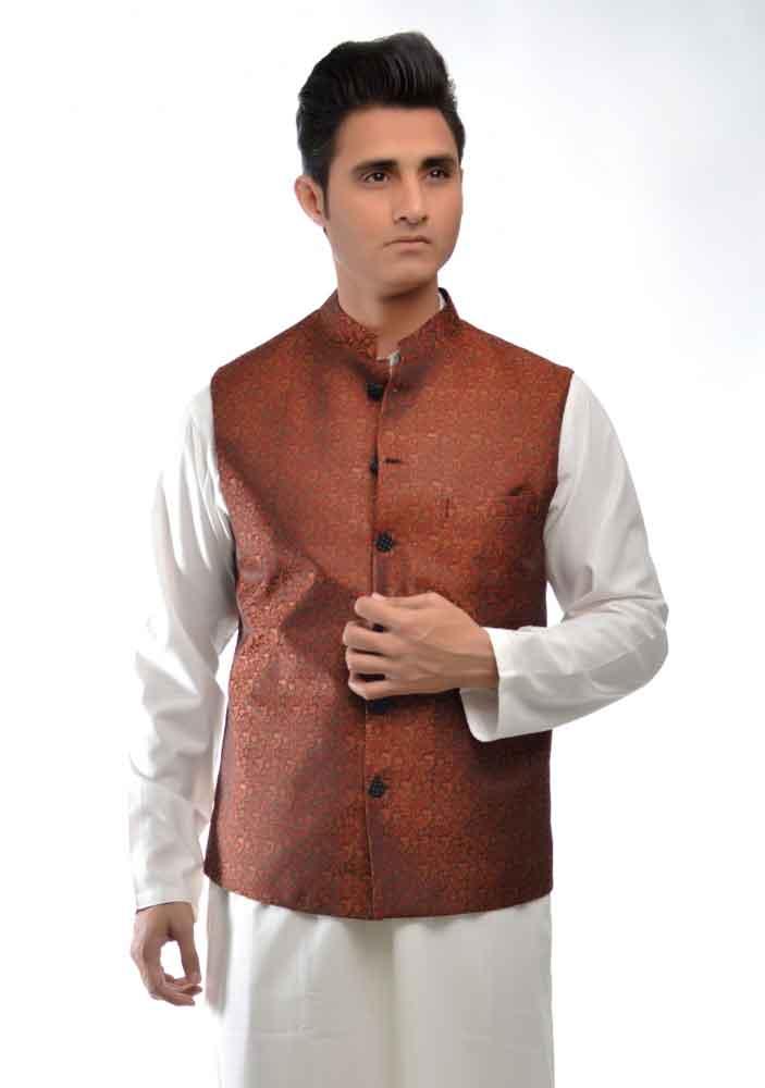 white kurta with brown waistcoat latest amir adnan men kurta designs for ramadan 2017