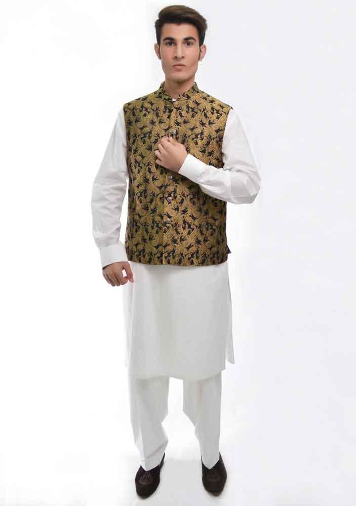 c2a196a233 simple white shalwar kameez with golden black waistcoat latest amir adnan  men kurta designs for ramadan