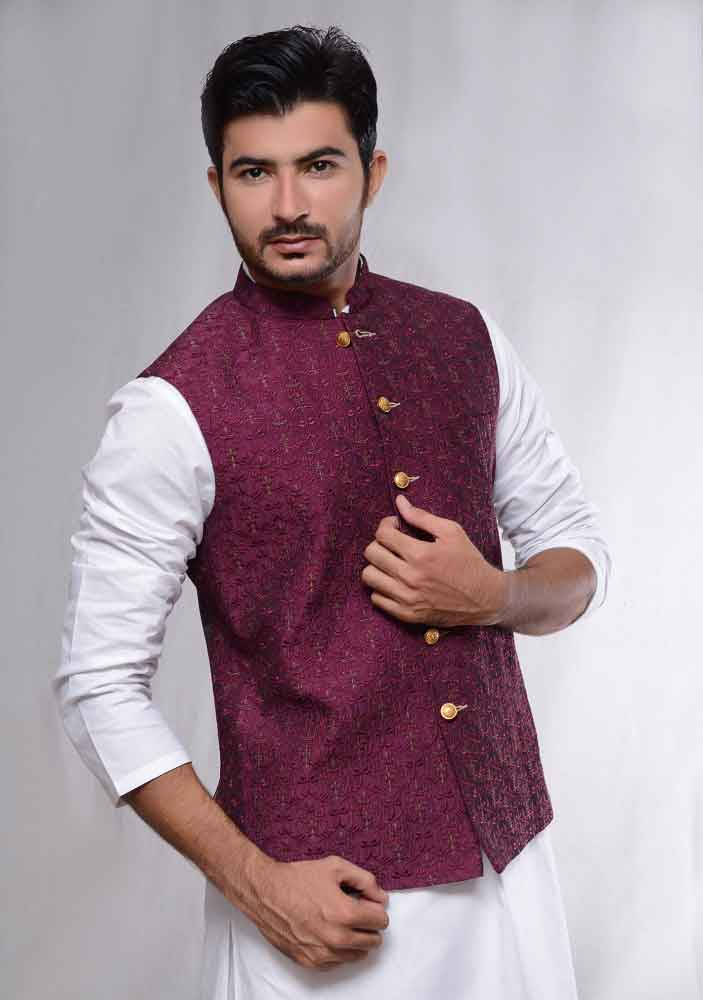 white kurta with magenta waistcoat latest amir adnan men kurta designs for ramadan 2017