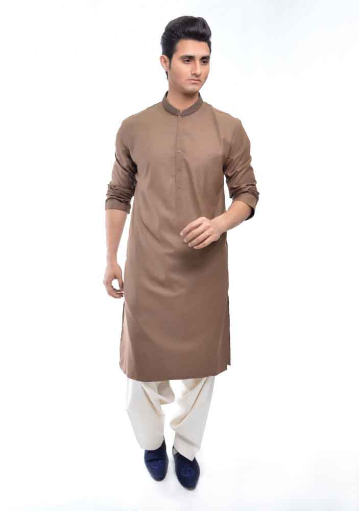 brown kurta with white shalwar latest amir adnan men kurta designs for ramadan 2017