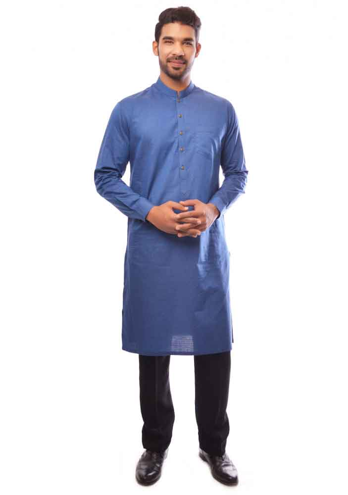 blue kurta with black pajama latest amir adnan men kurta designs for ramadan 2017