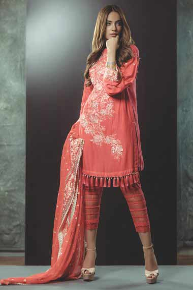Alkaram peach short shirt new eid dress designs for girls in Pakistan 2017