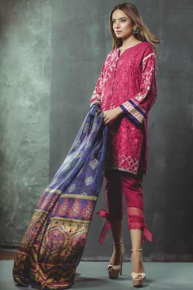 Alkaram pink short shirt new eid dress designs for girls in Pakistan 2017