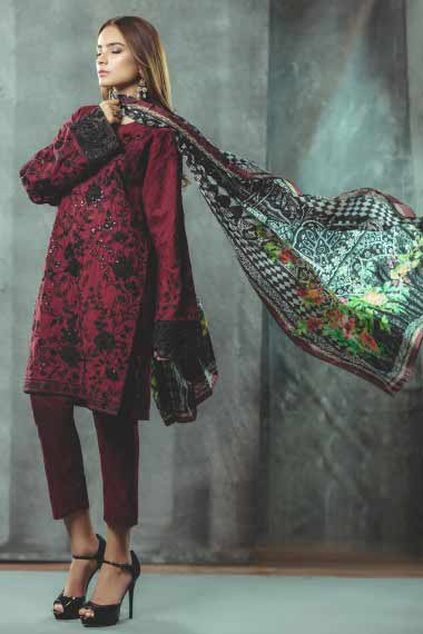 Alkaram red and black new eid dress designs for girls in Pakistan 2017