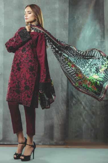 Alkaram red and black new eid dress designs for girls in Pakistan 2017