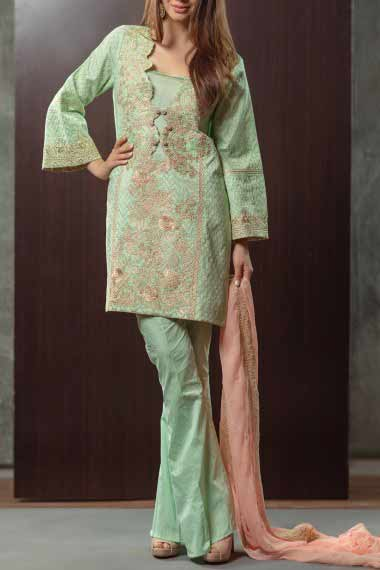 Alkaram green short shirt new eid dress designs for girls in Pakistan 2017