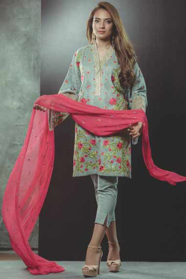 Alkaram sky blue and pink new eid dress designs for girls in Pakistan 2017