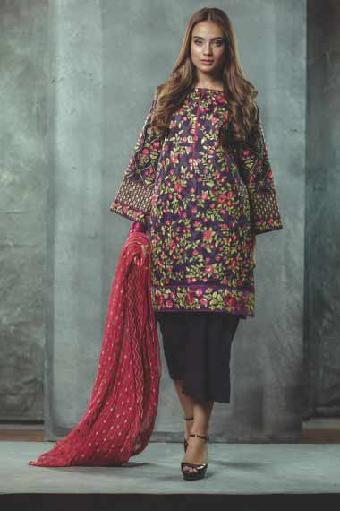 Alkaram short shirt new eid dress designs for girls in Pakistan 2017