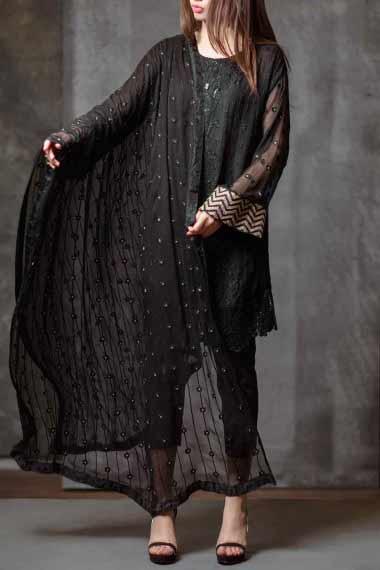 Alkaram all black short shirt new eid dress designs for girls in Pakistan 2017