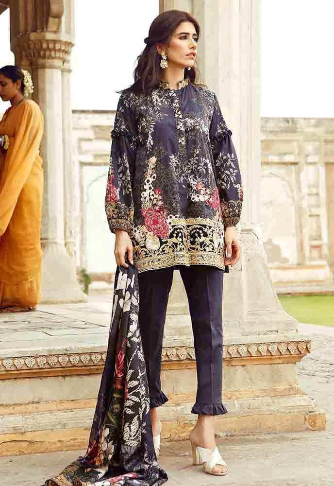 Cross Stitch black kurti new eid dress designs for girls in Pakistan 2017