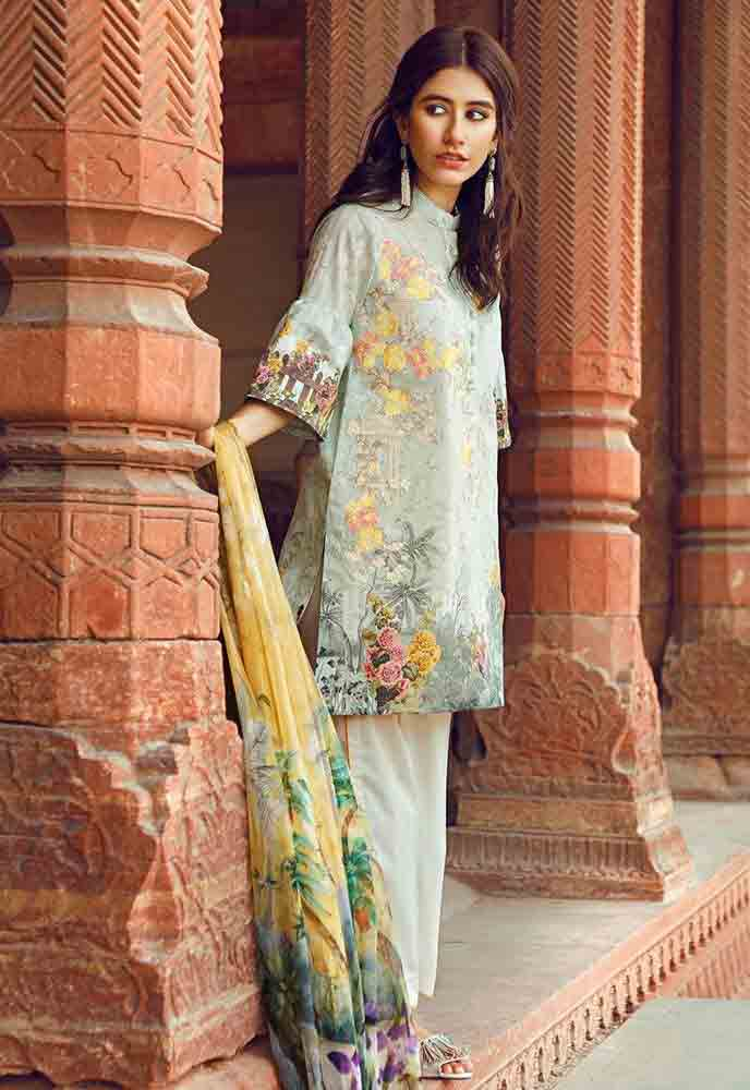 Cross Stitch light blue and yellow new eid dress designs for girls in Pakistan 2017