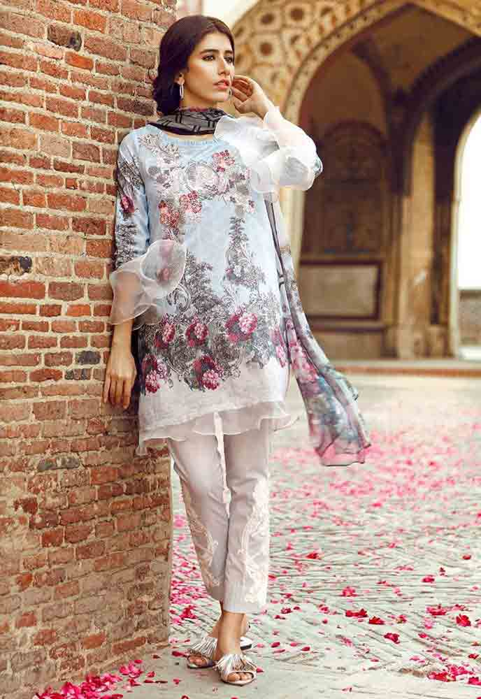 Cross Stitch white shirt new eid dress designs for girls in Pakistan 2017