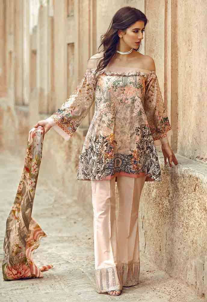 Cross Stitch beige kameez shalwar new eid dress designs for girls in Pakistan 2017