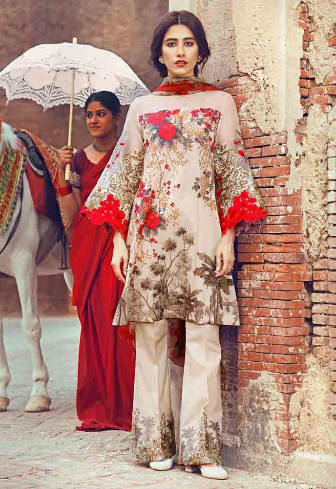 Cross Stitch red and beige short shirt new eid dress designs for girls in Pakistan 2017