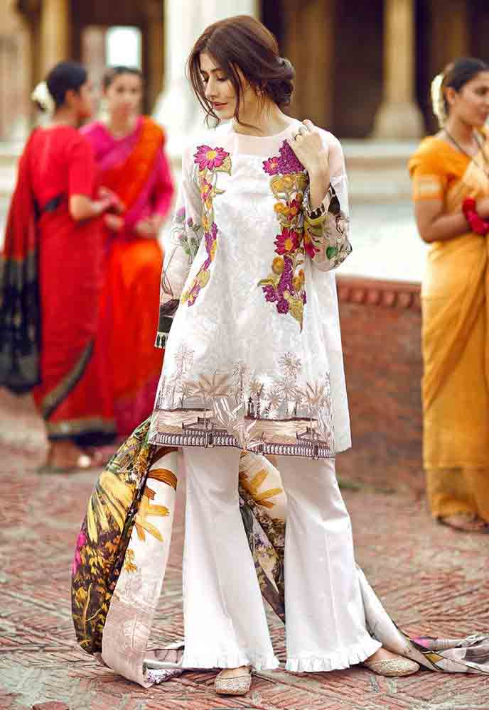 Cross Stitch white kurti new eid dress designs for girls in Pakistan 2017