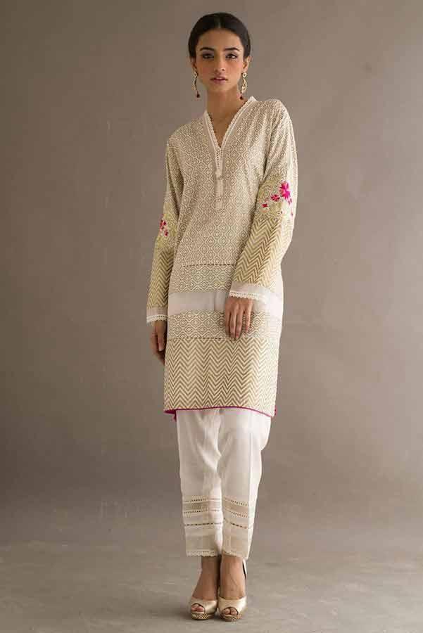 New off white dress Deepak Perwani eid dresses for girls 2017