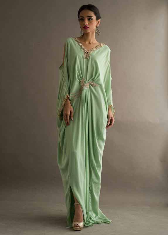 Light green pistachio fancy long gown Deepak Perwani eid dresses for girls 2017