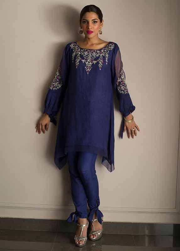 Blue short shirt with blue pants Deepak Perwani eid dresses for girls 2017