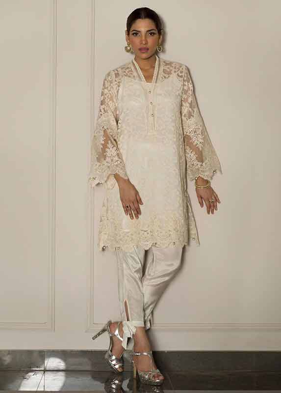 White net shirt with white pajama Deepak Perwani eid dresses for girls 2017