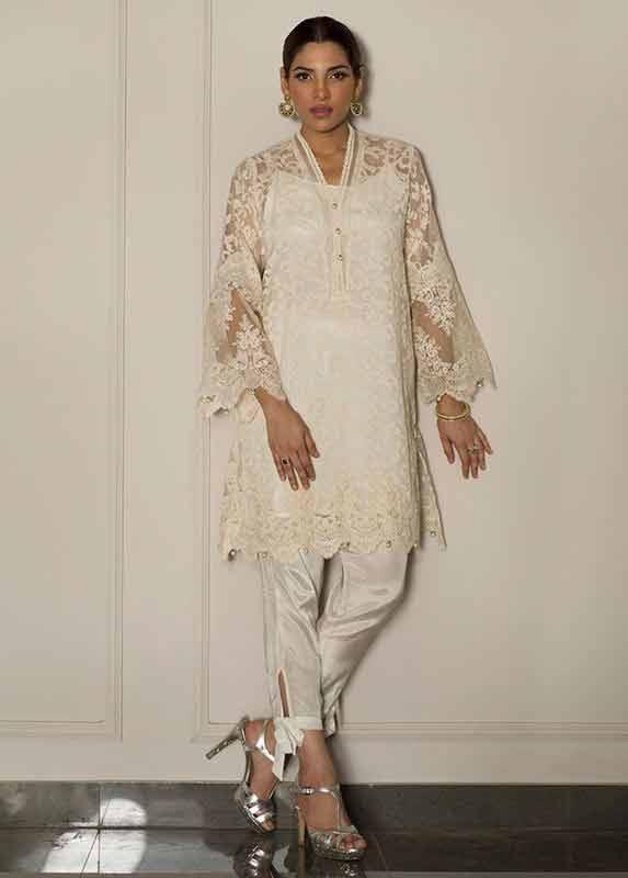White net shirt with white pajama Deepak Perwani eid dresses for girls 2017