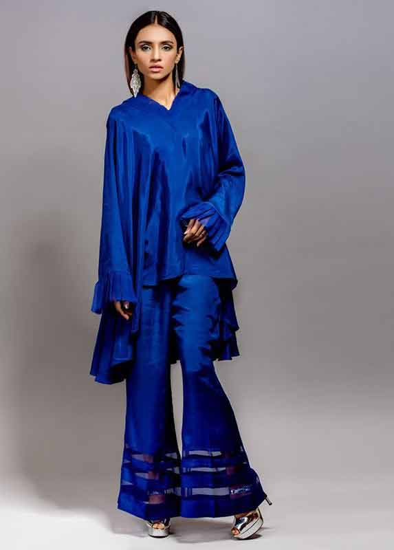 Royal blue short shirt with matching trousers Deepak Perwani eid dresses for girls 2017