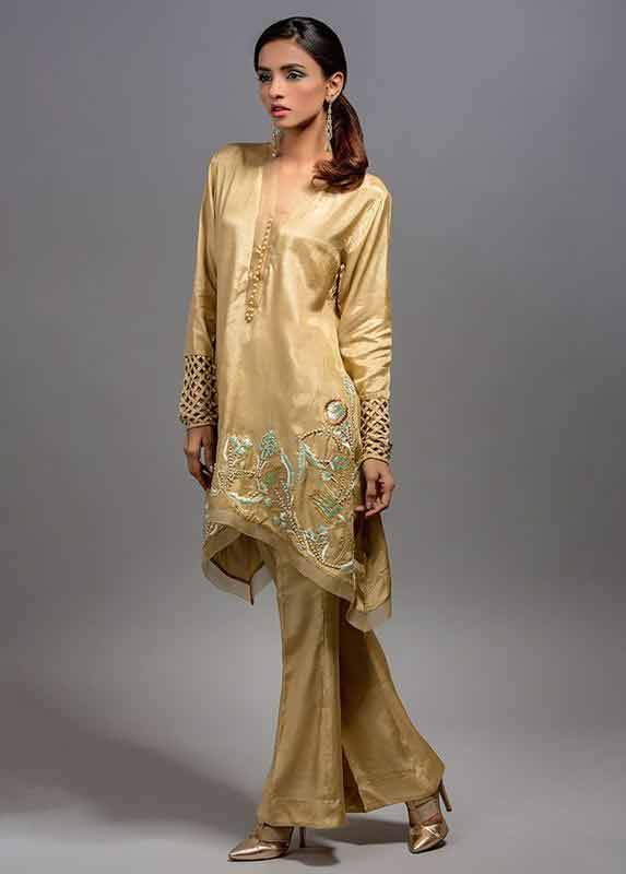 Golden embroidered shirt with matching flappers pants Deepak Perwani eid dresses for girls 2017