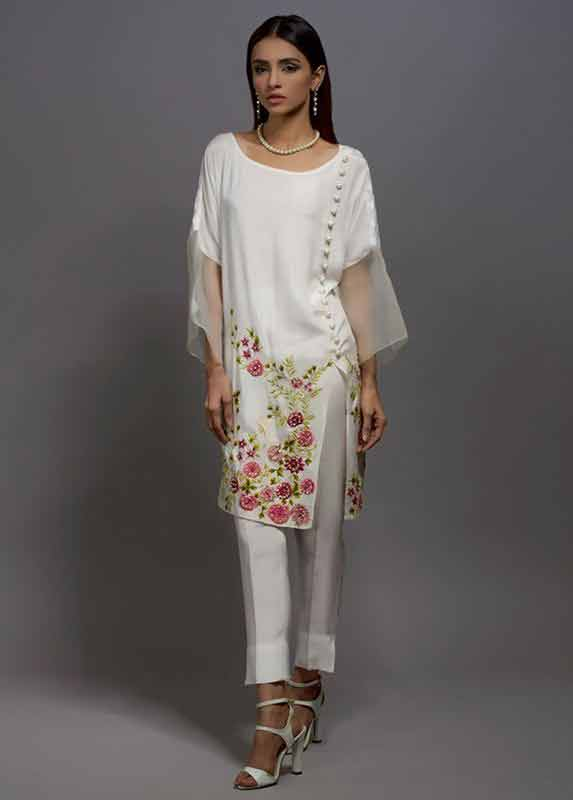 White organza shirt with matching capri pants Deepak Perwani eid dresses for girls 2017